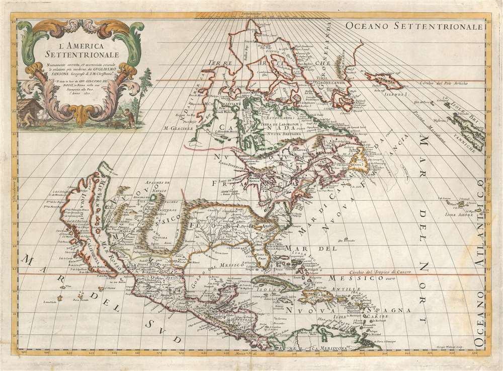1677 De Rossi/ Sanson Map of North America