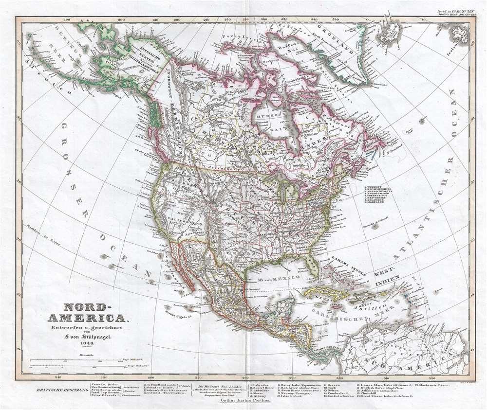 1848 Stieler Map of North America