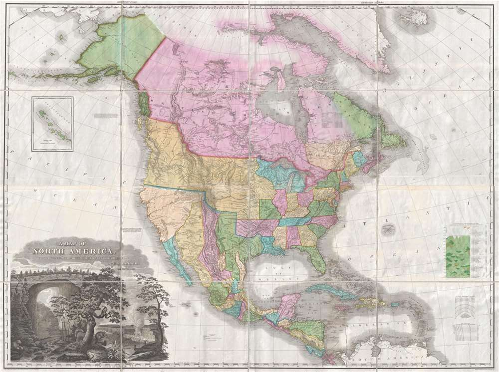 A Map of North America Constructed According to the Latest Information by H. S. Tanner.