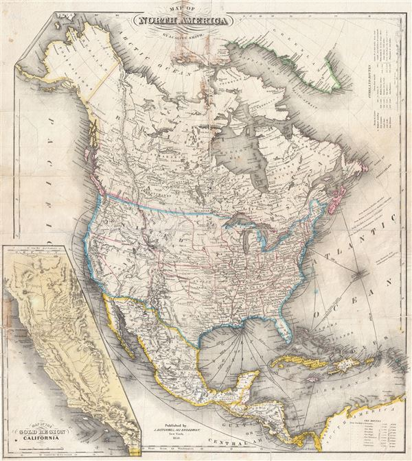 Antique Map Of North America.Map Of North America By J Calvin Smith Geographicus Rare Antique Maps
