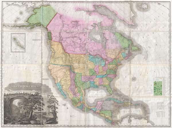 1825 Tanner Wall Map of North America