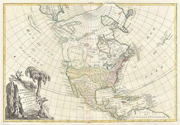 L'Amerique Septentrionale Divisee en ses Principaux Etats.