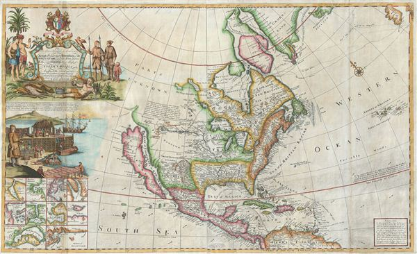 Antique Map Of North America.To His Grace Hugh Lord Archbishop Of Armagh Primate And
