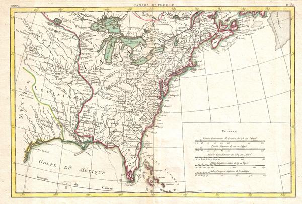 Partie De L'Amerique septentrionale, qui comprend le Canada, La Louisiane, Le Labrador, Le Greenland, La Nouvelle Angleterre, La Floride & C. - Main View