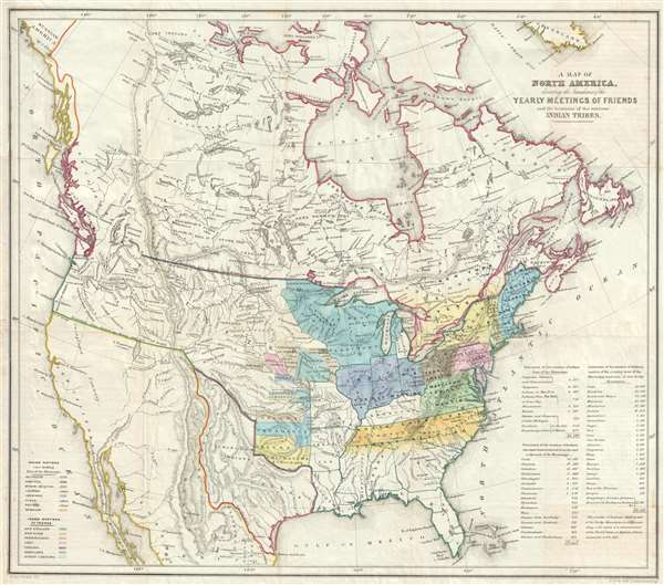 A Map of North America denoting the boundaries of the Yearly Meetings of Friends and the locations of the various Indian Tribes.
