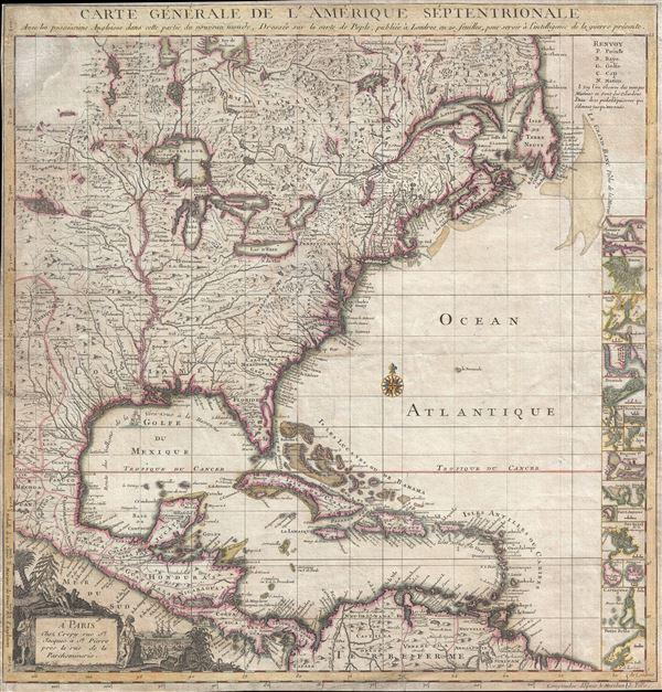 Carte Generale De L'Amerique Septentrionale Avec les possessions Angloises dans cette partie du nouveau monde, Dressee sur la carte de Pople, publiee a Londres en 20 fuilles, pour servir a l'intelligence de la guerre presente.
