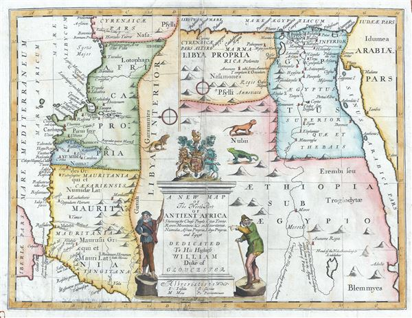 A New Map of The North Part of Antient Africa Shewing the Chiefe People, Cities, Towns, Rivers, Mountains, etc. in Mauritania, Numidia, Africa Propia, Libya Propia, and Egypt.