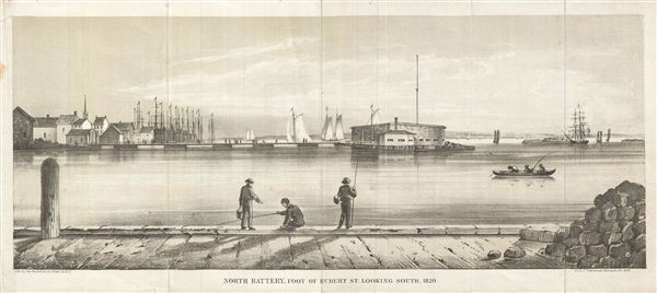 North Battery, Foot of Hubert St. Looking South, 1820.