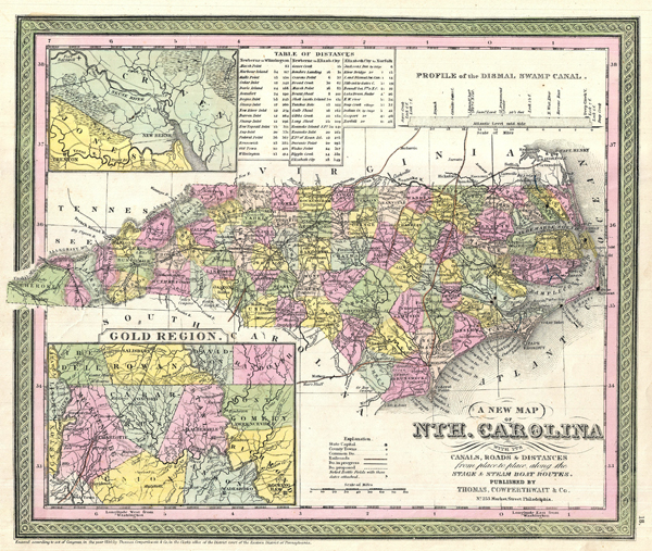 A New Map of Nth. Carolina with its Canals, Roads & Distances from place to place  along the stage & steam boat routes.