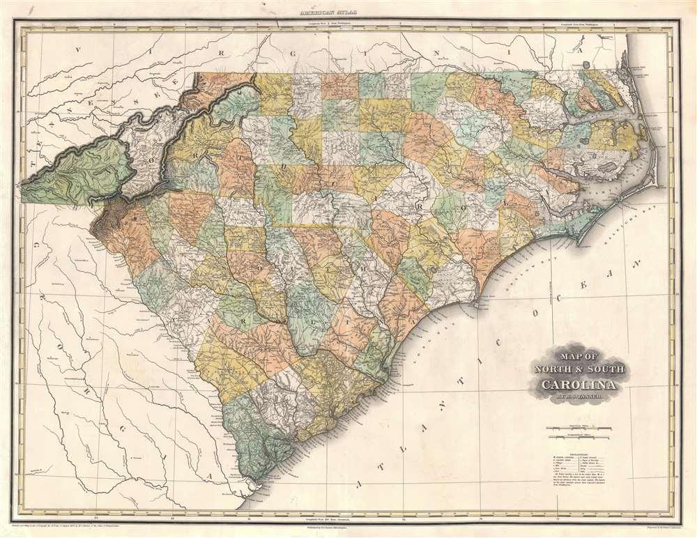 Map of North and South Carolina. - Main View