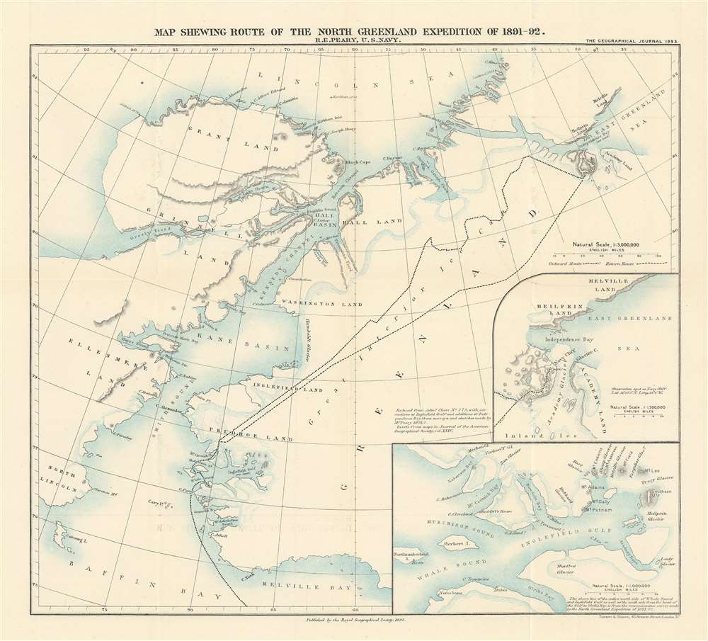 1893 Royal Geographical Map of North Greenland and the 1891 Peary Expedition