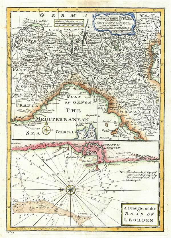Road Map Of France And Italy.A New And Accurate Map Of The Northern Parts Of Italy A Draught Of