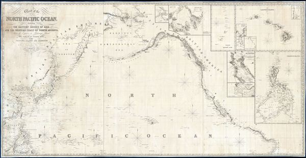 Chart of the North Pacific Ocean, Exhibiting the Eastern Shores of Asia and the Western Coast of North America from the Equator to Behring's Strait with plan, on an enlarge scale, of the Principal Island and Harbours.