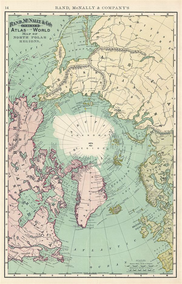 Map of North Polar Regions.