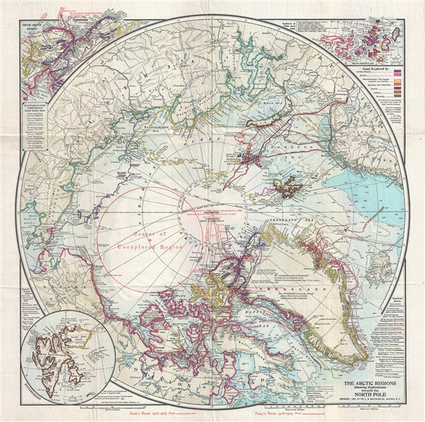 The Arctic Regions Showing Exploration towards the North Pole.