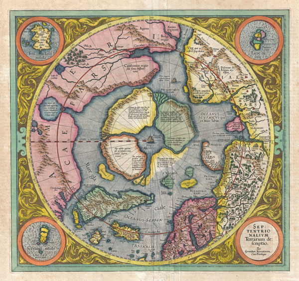 Mercator's 1606 Map of the North Pole