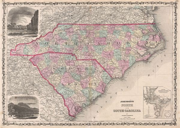 Johnson\'s North and South Carolina.: Geographicus Rare Antique Maps