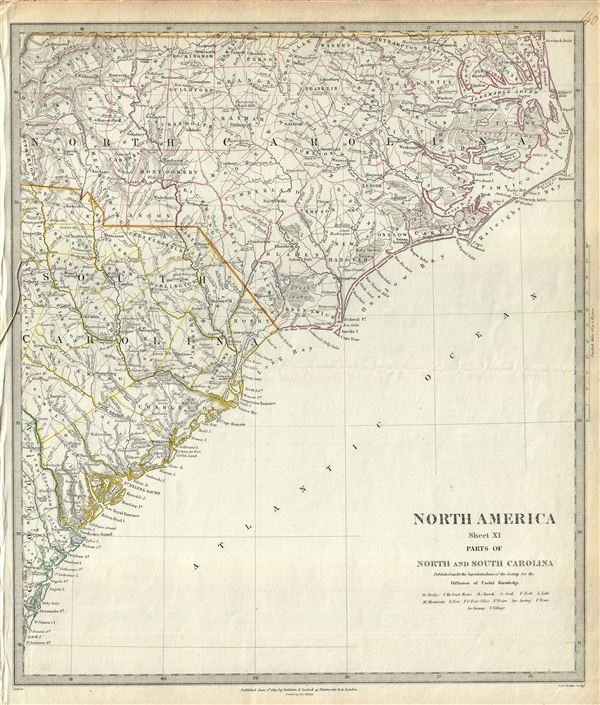 North America Sheet XI Parts of North and South Carolina.