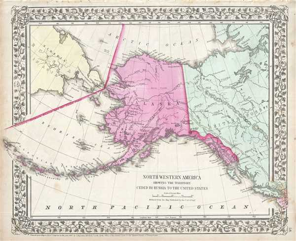North Western America, Showing the Territory Ceded by Russia to the United States.