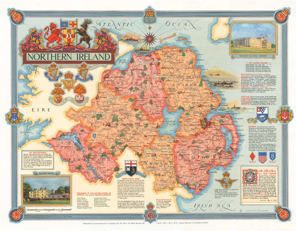 1947 Clegg Pictorial Map of Northern Ireland