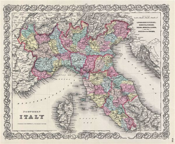 Northern Italy.  Lombardy & Venice, Sardinia, Tuscany, Parma, Modena, Lucca, and the State of the Church.