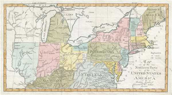 1802 Bradley Map of the Northern United States and Northwest Ordinance