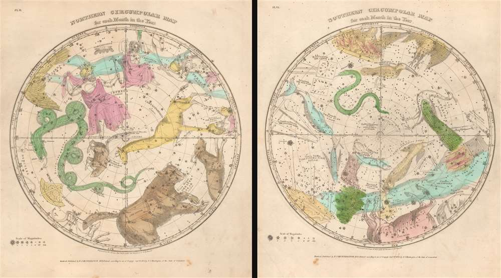 Northern Circumpolar Map for each Month in the Year.  Southern Circumpolar Map for each Month in the Year. - Main View