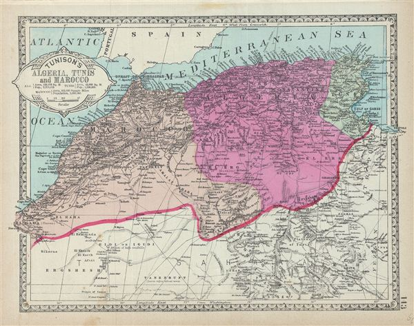 Tunison S Algeria Tunis And Morocco Geographicus Rare Antique Maps