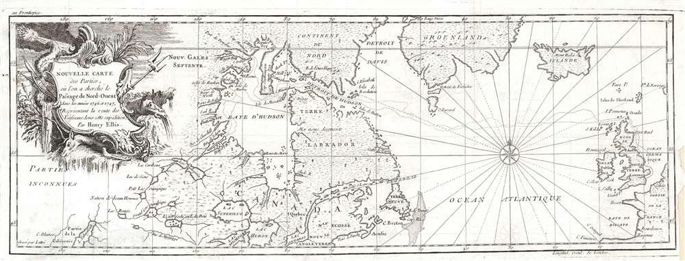 Nouvelle carte des parties, où l'on a cherche le passage de nord-ouest dans les années 1746 et 1747. - Main View