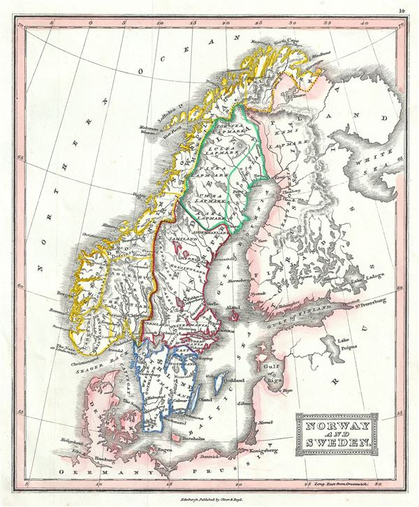 Norway and Sweden Geographicus Rare Antique Maps