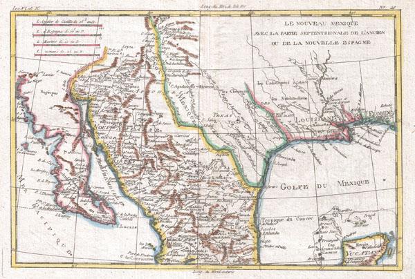 Le Nouveau Mexique avec la partie Septentrionale de L'anciene ou de La Nouvelle Espagne. - Main View