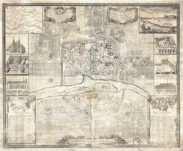 Nouveau Plan de la Ville d'Angers enrichi de la carte des environs et de la perspective de la ville avec ses principalles maisons. Dressé par les soins de Messieurs les Maires et Echevins et Conseillers perpetuels de l'Hotel de Ville.
