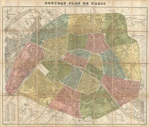 Nouveau Plan De Paris Divise en Vingt Arrondisements.