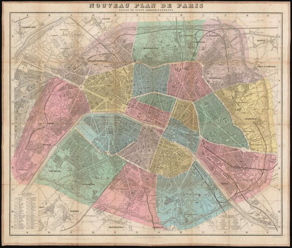 1870 Vuillemin Map or City Plan of Paris, France