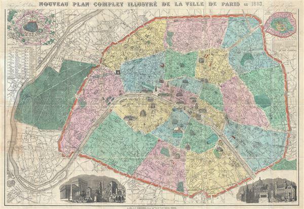 Nouveau Plan Complet Illustre de la Ville de Paris en 1883.