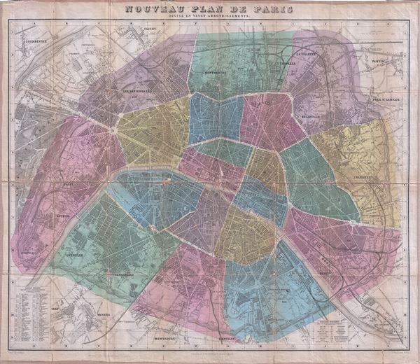 Nouveau Plan de Paris Divise en Vingt Arrondissements.