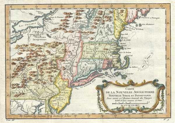 Carte de la Nouvelle Angleterre Nouvelle Yorck et Pensilvanie.