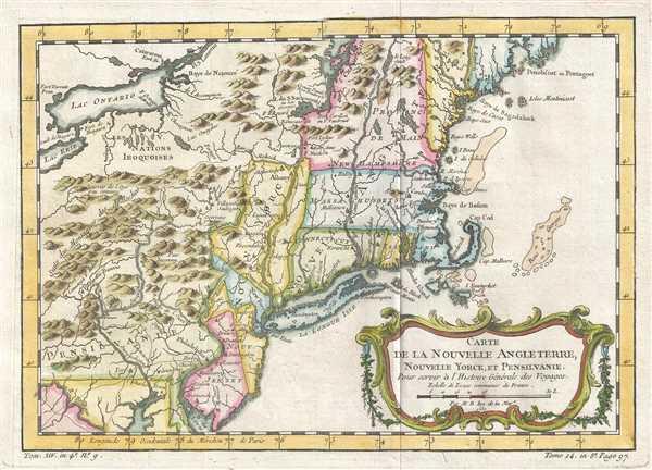 Carte de la Nouvelle Angleterre Nouvelle Yorck et Pensilvanie. - Main View