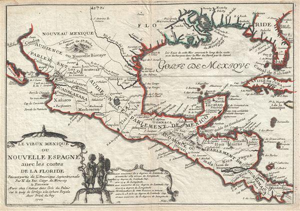 Les Vieux Mexique ou Nouvelle Espagne avec les costes de la Floride.
