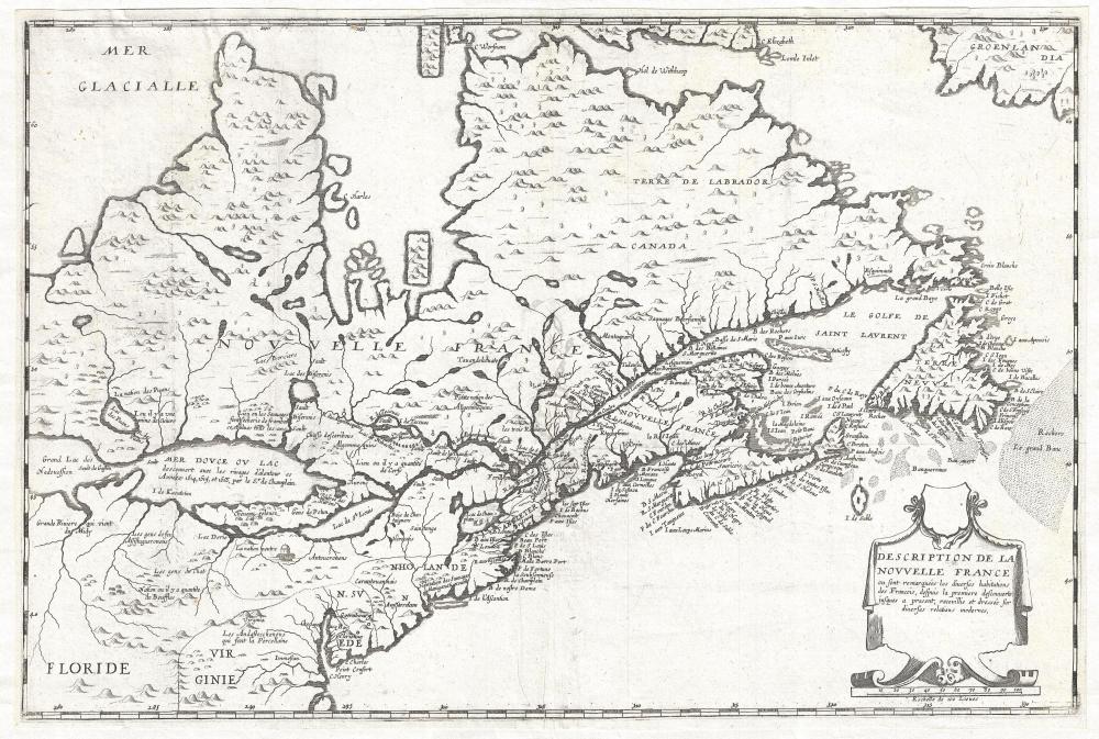 Description de la Nouvelle France, ou, sont remarquées les diverses habitations des françois, despuis la première descouverte jusques à present, receuillie et dressée sur diverses relations modernes.