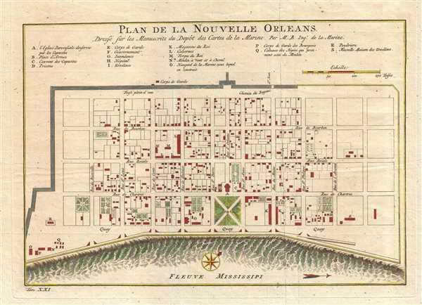Plan de la Nouvelle Orleans Dresse sur les Manuscrits du Depot des Cartes de la Marine.