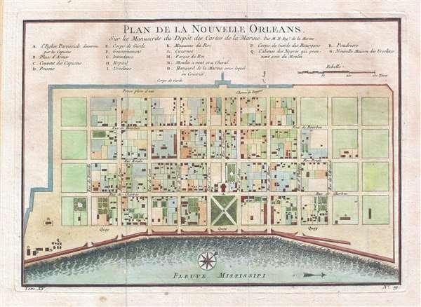 Plan de la Nouvelle Orleans. Sur les Manuscrits du Depôt des Cartes de la Marine.