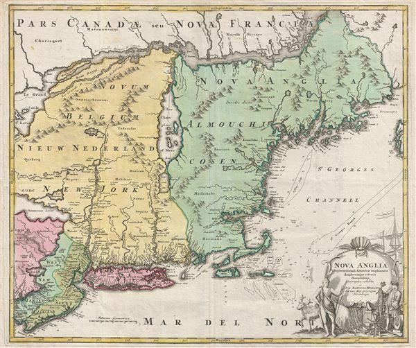 Nova Anglia Septentrionali Americae Implantata Anglorumque Coloniis Florentissima Geographice Exhibita a Joh. Baptista Homann. - Main View