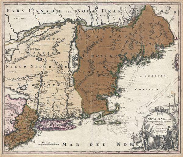Nova Anglia Septentrionali Americae Implantata Anglorumque Coloniis Florentissima Geographice Exhibita a Joh. Baptista Homann.