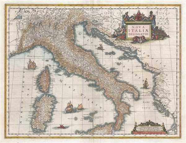 1635 Blaeu Map of Italy