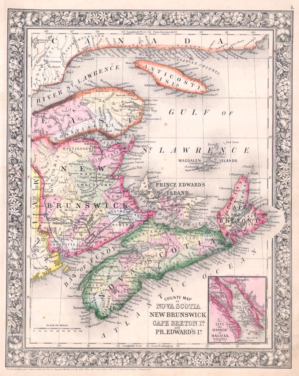County Map of Nova Scotia, New Brunswick, Cape Breton Is. And Pr. Edward's Id.