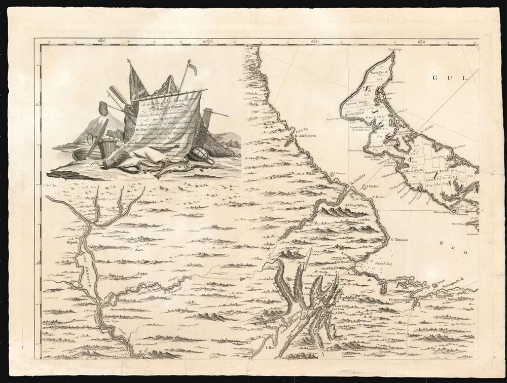 Map of Nova Scotia or Acadia with the Islands of Cape Breton and St. John's. - Alternate View 2