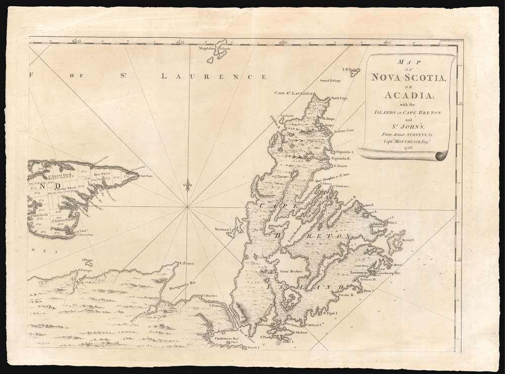 Map of Nova Scotia or Acadia with the Islands of Cape Breton and St. John's. - Alternate View 3