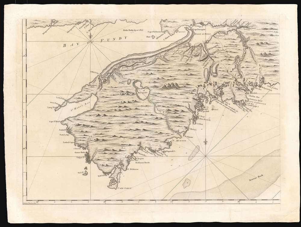 Map of Nova Scotia or Acadia with the Islands of Cape Breton and St. John's. - Alternate View 4