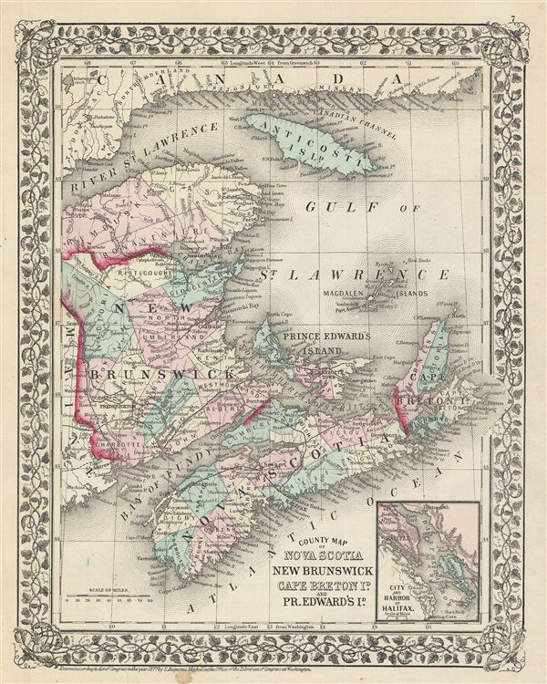 County Map of Nova Scotia, New Brunswick, Cape Breton Is. And Pr. Edward's Id. - Main View
